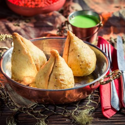 Delicious samosa with dip